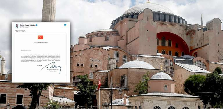 Αγία Σοφία: Υπέγραψε το διάταγμα ο Ερντογάν κι ευχήθηκε «καλορίζικο» το τζαμί!